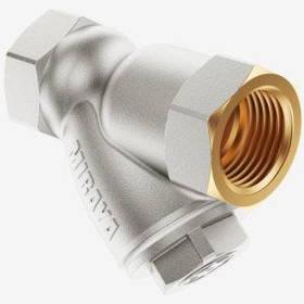 Фільтр латунний (грязьовик) нікельований У-подібний зі збільшеним відстійником 3/4 (три чверті дюйма)