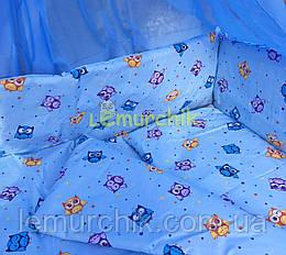 """Дитяче постільна білизна (8 предметів) """"Совушка"""" блакитне"""