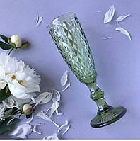 """Бокалы из цветного стекла для шампанского """"Кубок"""" изумруд зеленый. Цветные бокалы ромб мелкий , фото 1"""