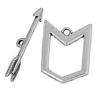 Застежка-тогла, Цинковый сплав, Стрела, Античное серебро, 3.1 cм x 0.6 cм, 25 мм x 19 мм
