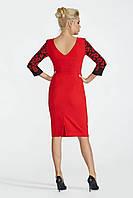 Платье красное с принтоваными рукавами