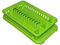 Сушарка пластикова для посуду з піддоном (12тар.) (салатова) ТМКОНСЕНСУС