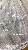 Белый фатин тюль с нежной цветочной вышивкой 82911, фото 2