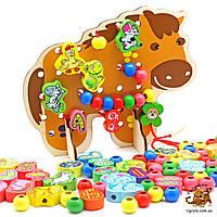 Шнуровка Пони - деревянная игрушка шнуровка лошадка
