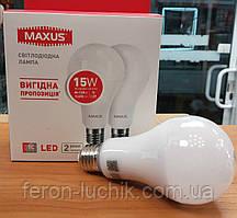 Светодиодная лампа Maxus LED 15W E27 А70 (две штуки в 1 упавковке)