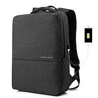 Рюкзак для ноутбука темно серый с USB портом, фото 1