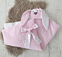 Конверт-одеяло «Зверята, мамина зайка» (однослойный) розовый