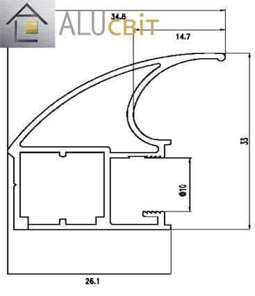 Вертикальный профиль Элит серебро купе ручка открытый, фото 2