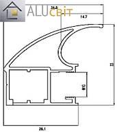 Вертикальный профиль Элит серебро купе ручка открытый