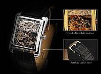 Часы мужские наручные прямоугольные механические Winner Skeleton New Silver.