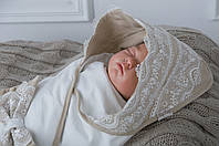 """Трикотажный плед для новорожденных """"Изысканность"""", бежевый, фото 1"""