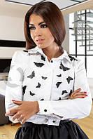 """Рубашка белая """"Бабочки"""" с камнями Gepur 6771"""