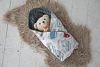 Плюшевый плед Minky с хлопком, серый, фото 1