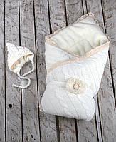 Набор вязаный Дует молочный на махре, фото 1