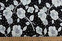 Трикотаж вискоза черный фон с белыми  цветами