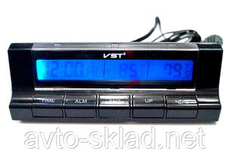 Годинник автомобільні 7037 VST (термометр, будильник, календар, секундомір)