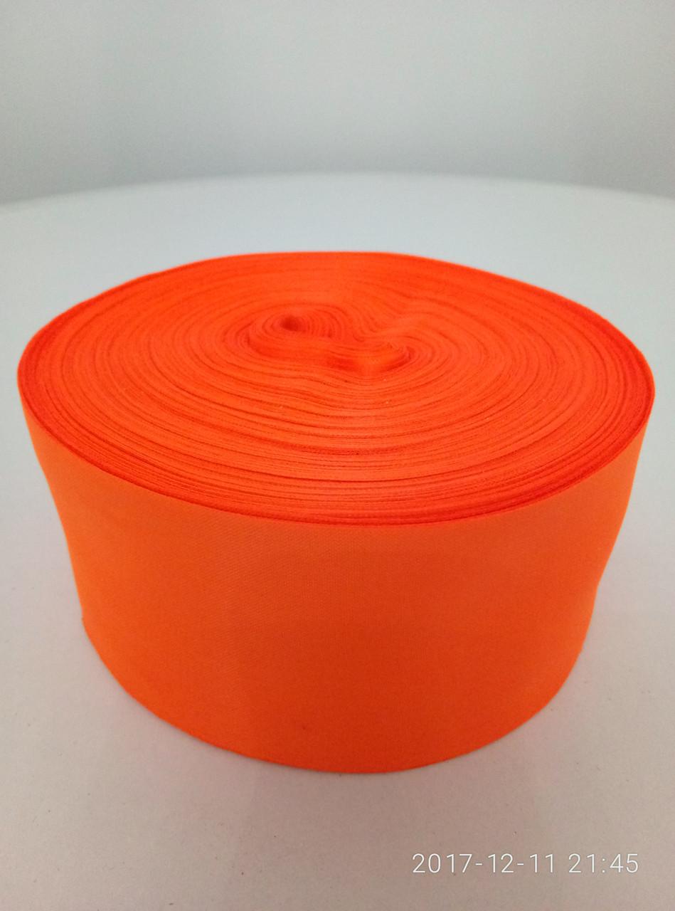 Лента оранжевая шелковая 5см.