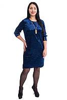 Стильное платье темно синего цвета код 5501(размер в наличии 52 54 56 ), фото 1