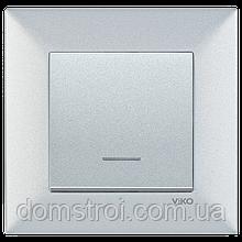 Выключатель 1-клав. с подсветкой VIKO Meridian Trenda серебро
