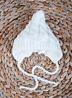 Шапочка вязанная на махре (0-3 мес., 3-6 мес.), Белая