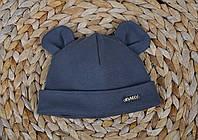 Набор «Мишка» шапочка с ушками и манишка (42-46, 46-50, 50-54) Темно серая, фото 1