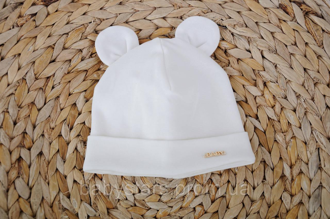 Набор «Мишка» шапочка с ушками и манишка (42-46, 46-50, 50-54) Молоко