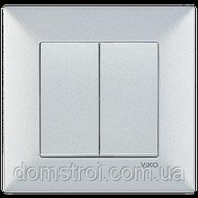 Выключатель 2-клав. VIKO Meridian Trenda серебро
