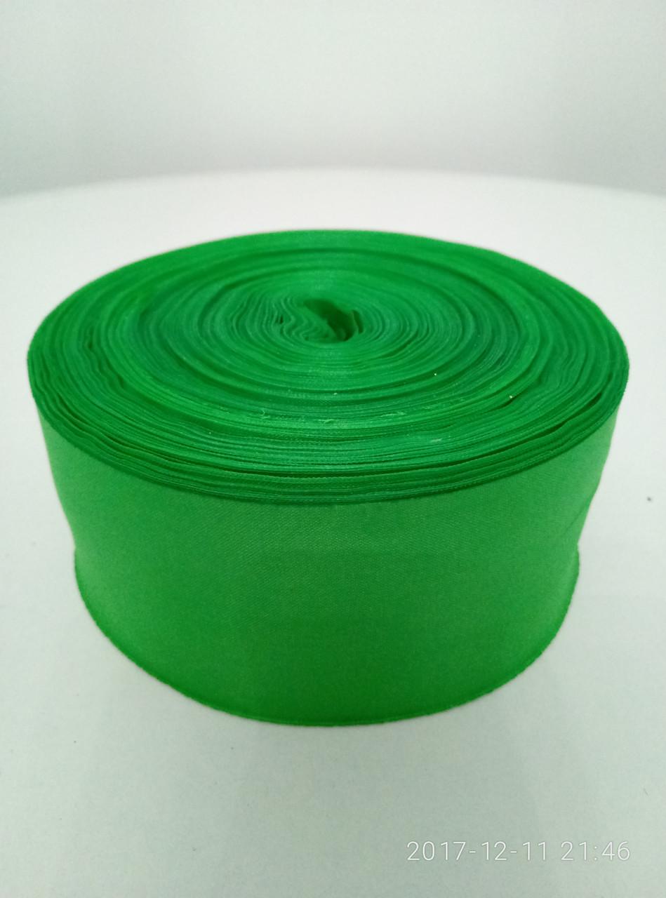 Лента зеленая шелковая 5см.