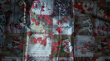 Скатерть новогодняя атласная 150*220 см принт Коньки, фото 2