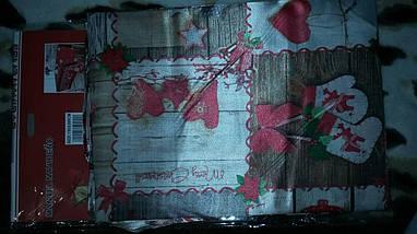 Скатерть новогодняя атласная 150*220 см принт Коньки, фото 3