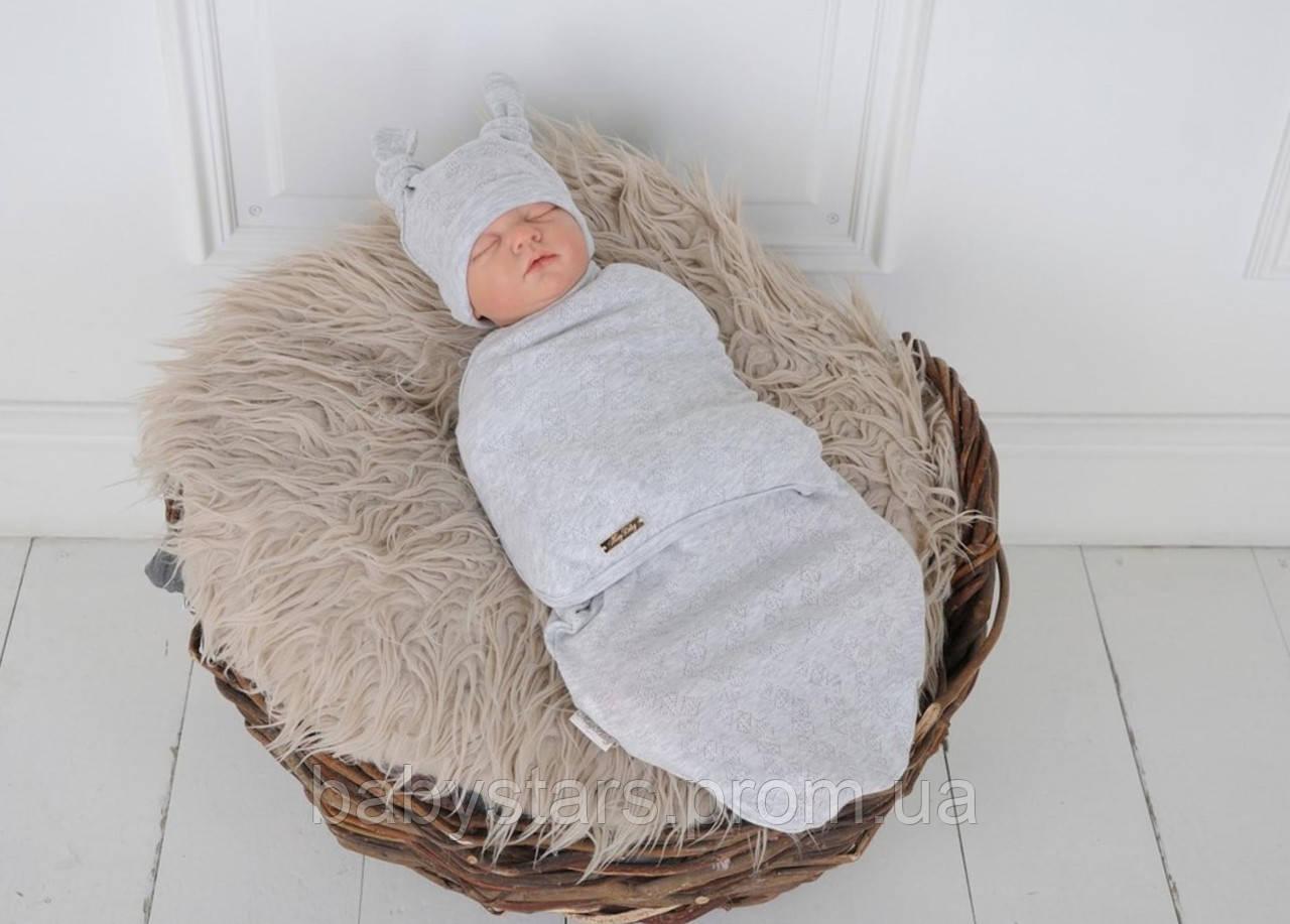 """Пеленка кокон для новорожденных на липучках """"Wind"""" с шапочкой, серого цвета, для деток 0-3 мес."""