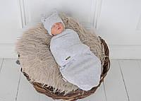"""Пеленка кокон для новорожденных на липучках """"Wind"""" с шапочкой, серого цвета, для деток 0-3 мес., фото 1"""