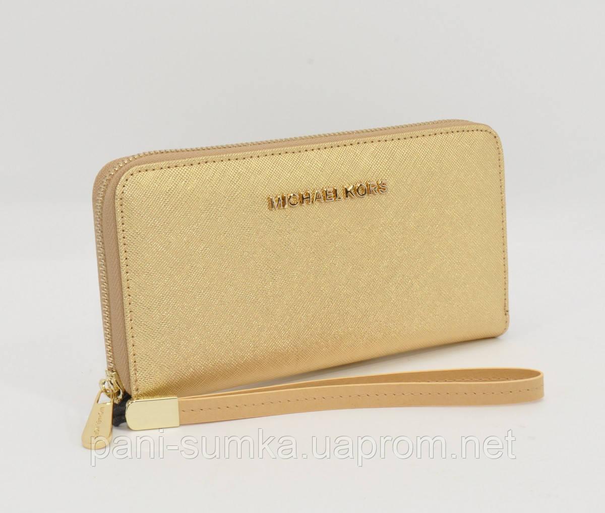 618235f02a63 Кошелек женский кожаный на молнии Michael Kors 60019-D золотистый,  расцветки, фото 1