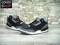 Мужские кроссовки в стиле Nike Air Jordan 3 Retro, материал - натуральная кожа, подошва - пенка