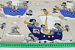"""Лоскут ткани хлопковой """"Пираты на синих кораблях"""" № 1056а, размер 25*78 см, фото 6"""