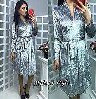 Велюровое платье на запах тв-12027-1