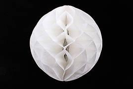 Бумажный шар соты белый, 15 см