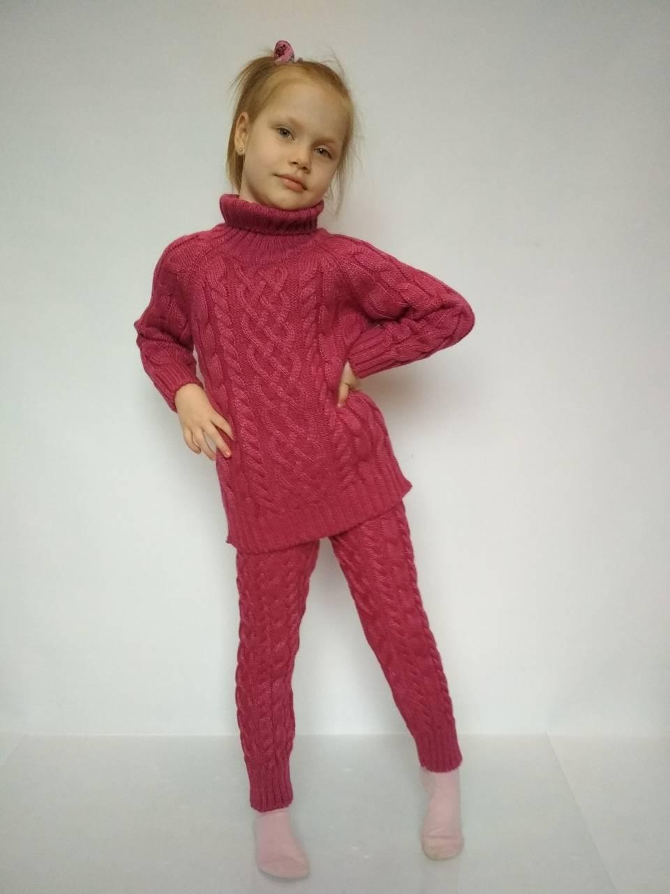 вязаный костюм для девочки красного цвета цена 450 грн купить в
