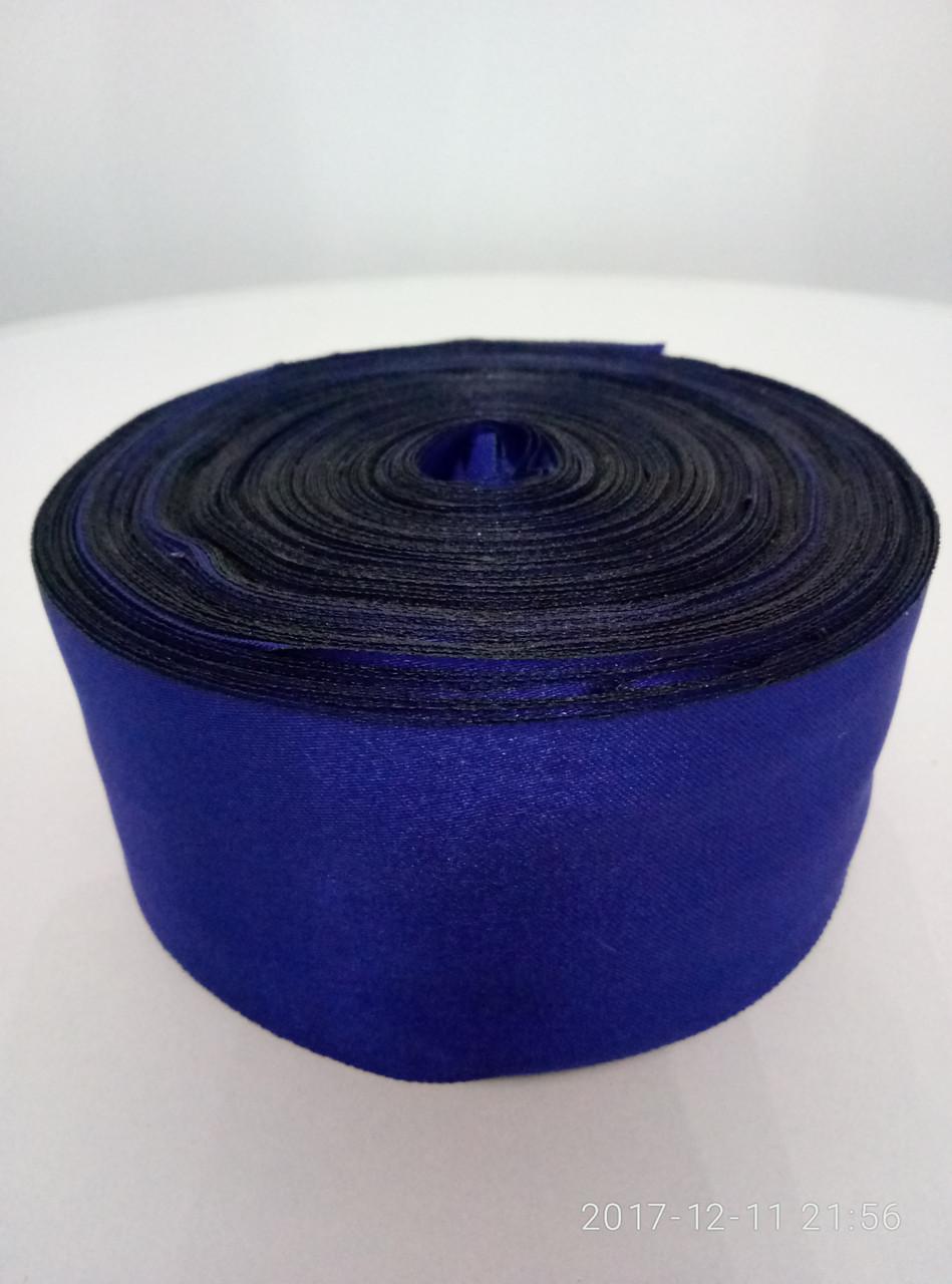 Лента синяя шелковая 5см.