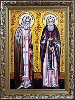 Икона Сергей Радонежский и Серафим Саровский из янтаря