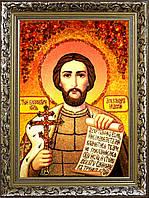 Икона Александр Невский из янтаря