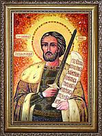Ікона Олександр Невський з бурштину