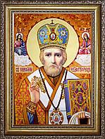 Ікона святого Миколая з бурштину, фото 1