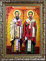 Ікона Василій і Іоанн з бурштину