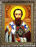 Ікона Василій великий з бурштину