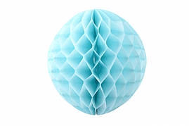 Бумажный шар соты голубой, 15 см