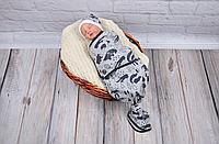 Безразмерная пеленка кокон на липучках каспер - Лес серый меланж