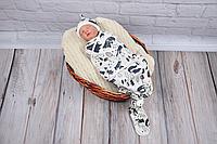 Безразмерная пеленка кокон на липучках каспер - Лес молоко