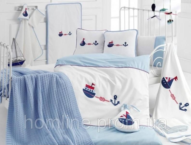 Детский набор в кроватку для младенцев Irya Marine голубой (16 предметов)