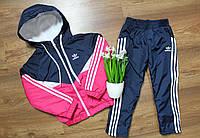Детский модный спортивный костюм Адидас,плащевка на флисе ,розовый+синий ,на рост 104 и 128см